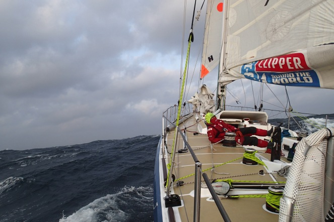 Heading on with storm jib up.