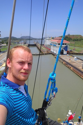 Up top in the Panama Canal.